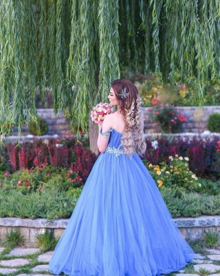 Romantic Off the Shoulder Sky Blue Wedding Gown Tulle Lace Prom Party Dress_5