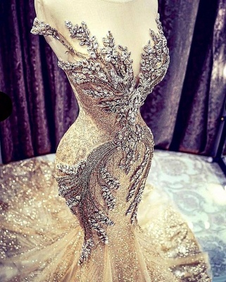Charming Off the Shoulder Crystals Mermaid Evening Gown Glitter Sequins Party Dress_4