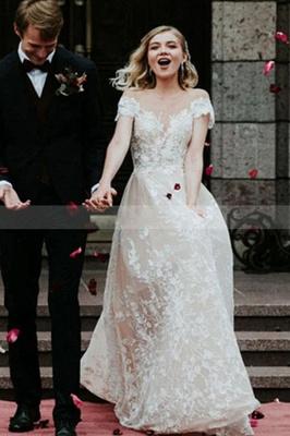 Charmante robe de mariée en dentelle florale à épaules dénudées princesse robe de mariée blanche Aline_3
