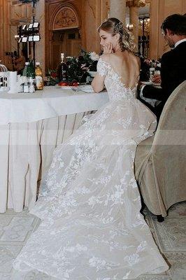 Charmante robe de mariée en dentelle florale à épaules dénudées princesse robe de mariée blanche Aline_6