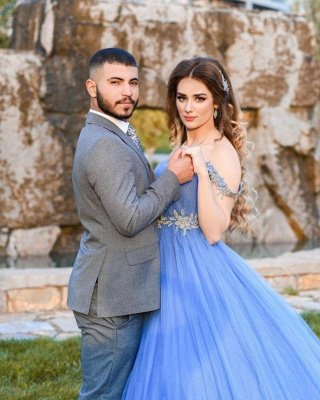 Romantic Off the Shoulder Sky Blue Wedding Gown Tulle Lace Prom Party Dress_4