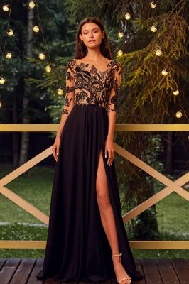 Chic  Half Sleeve Floral Chiffon Long Evening Maxi Dress with Side Split_1