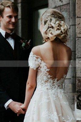 Charmante robe de mariée en dentelle florale à épaules dénudées princesse robe de mariée blanche Aline_5