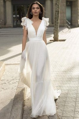 Deep V-Neck Cap Sleeves White Wedding Reception Dress Aline Maxi Dress