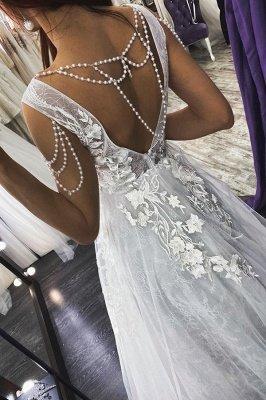 Vestido de noiva sexy com decote em V sem mangas vestido de noiva floral de renda_2