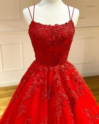 Spaghetti Straps Floral Lace Aline Evening Gown Sleeveless Prom Dress