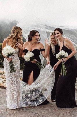 Элегантное свадебное платье русалки с v-образным вырезом на тонких бретельках, кружевное платье с цветочным рисунком для невесты_2