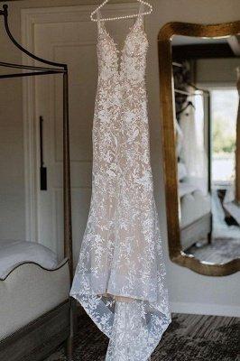 Elegante Spaghettiträger mit V-Ausschnitt, Meerjungfrau-Brautkleid, Blumen-Spitzenkleid für die Braut_8