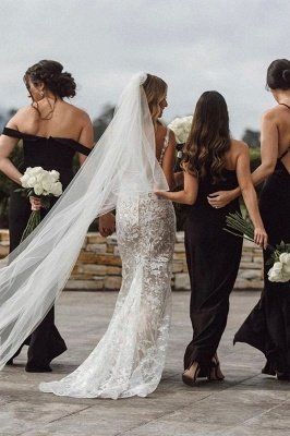 Elegante Spaghettiträger mit V-Ausschnitt, Meerjungfrau-Brautkleid, Blumen-Spitzenkleid für die Braut_6