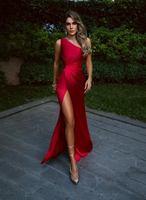 Sexy Burgundy One Shoulder Mermaid Evening Dress Side Split Party Gown