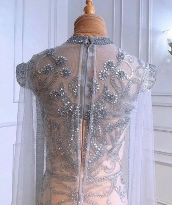 Luxury Sparkly Sequins Beads Long Mermaid Evening Gown Long Sleeve_4