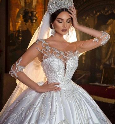 Magnifique robe de mariée robe de bal Aline florale chérie_5
