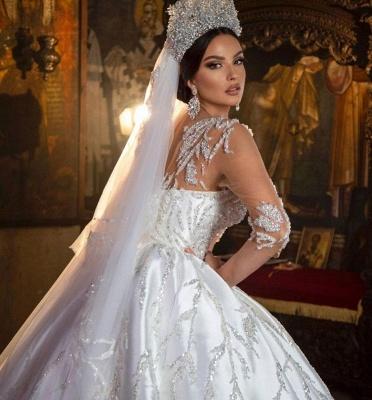 Magnifique robe de mariée robe de bal Aline florale chérie_4