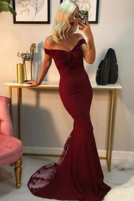 Charming  Off Shoulder Mermaid Evening Gown with Lace Appliques_3