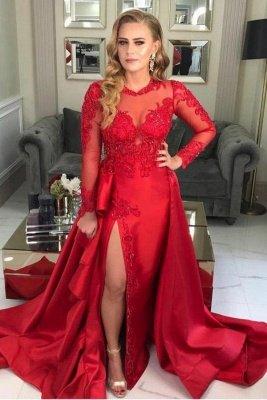 Stilvolle langärmelige rote Abendkleid-Spitzenapplikationen mit Seitenschlitz