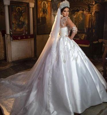 Magnifique robe de mariée robe de bal Aline florale chérie_3