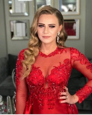 Stylish Long Sleeves Red Evening Dress Lace Appliques with Side Slit_3