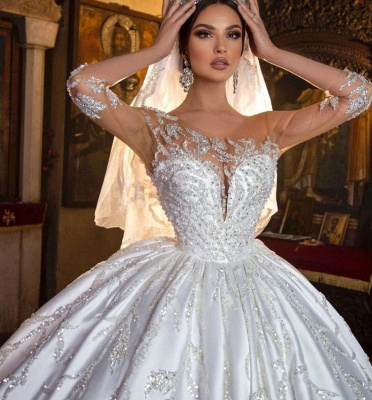 Gorgeous Sweetheart Floral Aline Ball Gown Wedding Dress_6