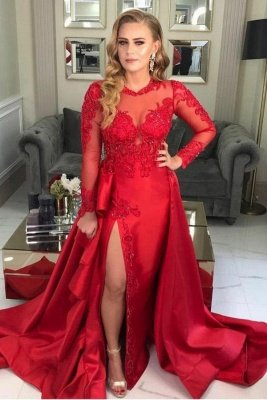 Stylish Long Sleeves Red Evening Dress Lace Appliques with Side Slit
