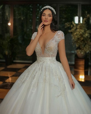 Chic Cap Sleeves Deep V-neck Beads Tulle Bridal Gown_4