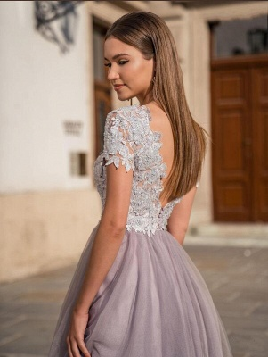 Stylish Cap Sleeves Tulle Short Formal Dress Daily Wear Midi Dress_2