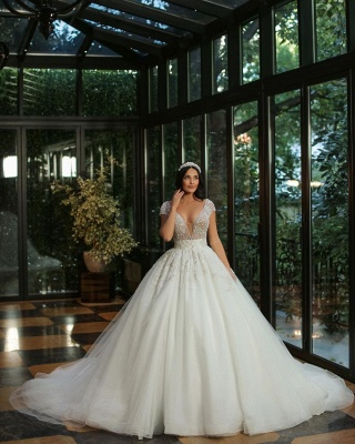 Chic Cap Sleeves Deep V-neck Beads Tulle Bridal Gown_2