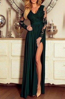 Dark Green Lace Long Sleeves Side Slit Evenign Dress_1