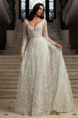 Chic Long Sleeves White Floral Lace Wedding Dress Aline Garden Bridal Dress