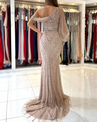 Stunning One Shoulder Shinning Beadings Mermaid Evening Gown with Side Slit_3