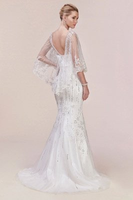 Charming Sleveless Sequins Mermard Evening Gown with Sleeve Cape_5