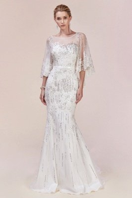 Charming Sleveless Sequins Mermard Evening Gown with Sleeve Cape_4
