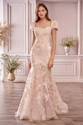 Mermaid Evening Gown Cap Bubble Sleeves Tulle Lace Appliques_1