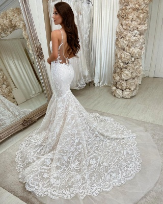 Chic Sweeteart Spaghetti Straps Mermaid Floral Lace Bridal Gown_2