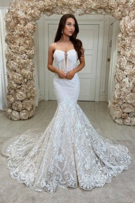 Robe de mariée en dentelle florale à bretelles fines
