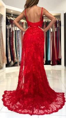 Atemberaubendes Meerjungfrau-Abendkleid mit V-Ausschnitt in Rot mit Spitzenapplikationen_3