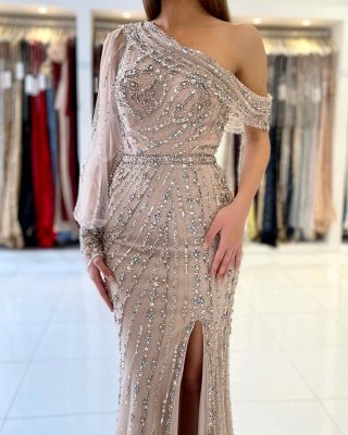 Stunning One Shoulder Shinning Beadings Mermaid Evening Gown with Side Slit_2
