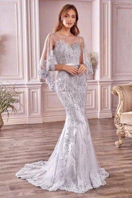 Charmante robe de soirée sirène à paillettes sans manches avec cape à manches
