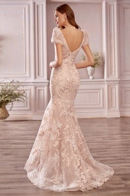 Mermaid Evening Gown Cap Bubble Sleeves Tulle Lace Appliques_2