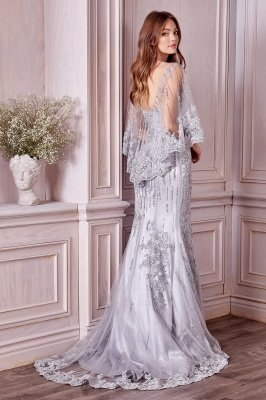 Charming Sleveless Sequins Mermard Evening Gown with Sleeve Cape_2