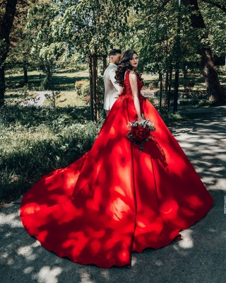 Glamorous Red Sweetheart Aline Ball Gown_6