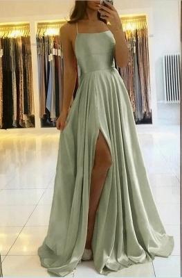 Superbe robe de soirée en satin à bretelles spaghetti avec fente latérale_3