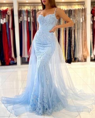 Charming Sky Blue Mermaid Maxi Evenign Dress with Floral Lace Appliques Detachable Train_5