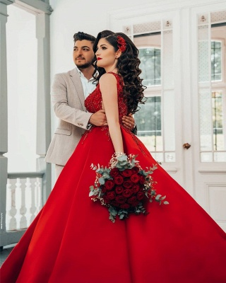 Glamorous Red Sweetheart Aline Ball Gown_4