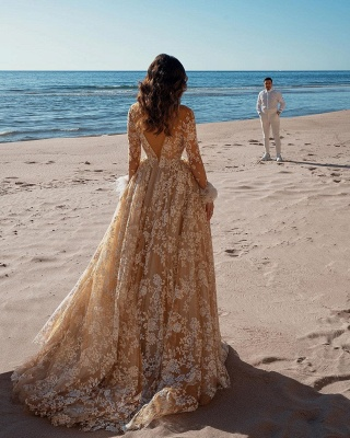 Amazing Long Sleeves Slim Floral Wedding Dress Party Gown_2