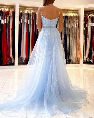 Charming Sky Blue Mermaid Maxi Evenign Dress with Floral Lace Appliques Detachable Train_3