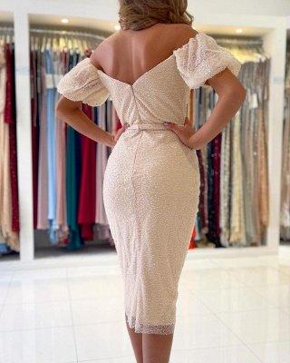 Stylish Off Shoulder Bubble Sleeves Short Mermaid Party Dress_2