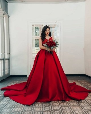 Glamorous Red Sweetheart Aline Ball Gown_2