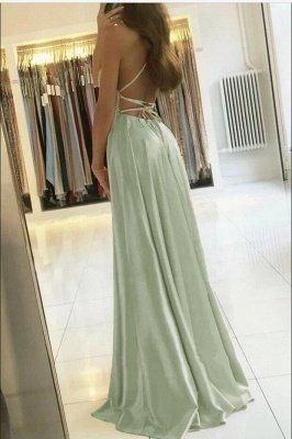 Superbe robe de soirée en satin à bretelles spaghetti avec fente latérale_2