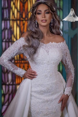 Gorgeous Off Shoulder Long Sleeves mermaid Bridal Gown with Detachable Train_4
