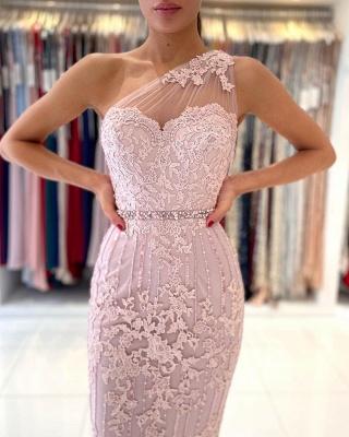 Stylish One Shoulder Floral Lace Slim Formal Party Dress_6